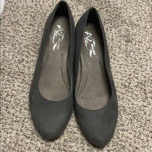 Grey low heels. Comfortable!